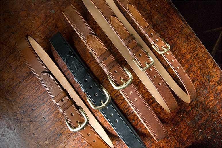 Oak bark leather belts