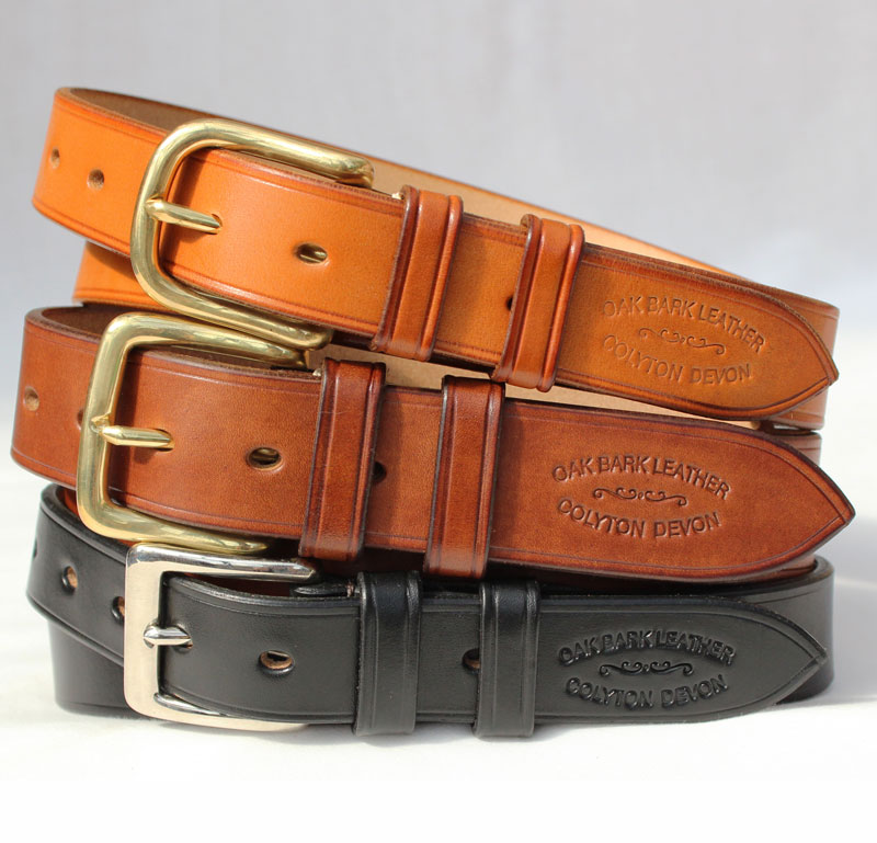 Oak bark leather belts