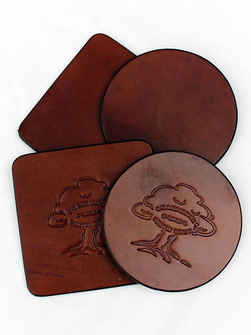 Oak Bark Leather Coasters