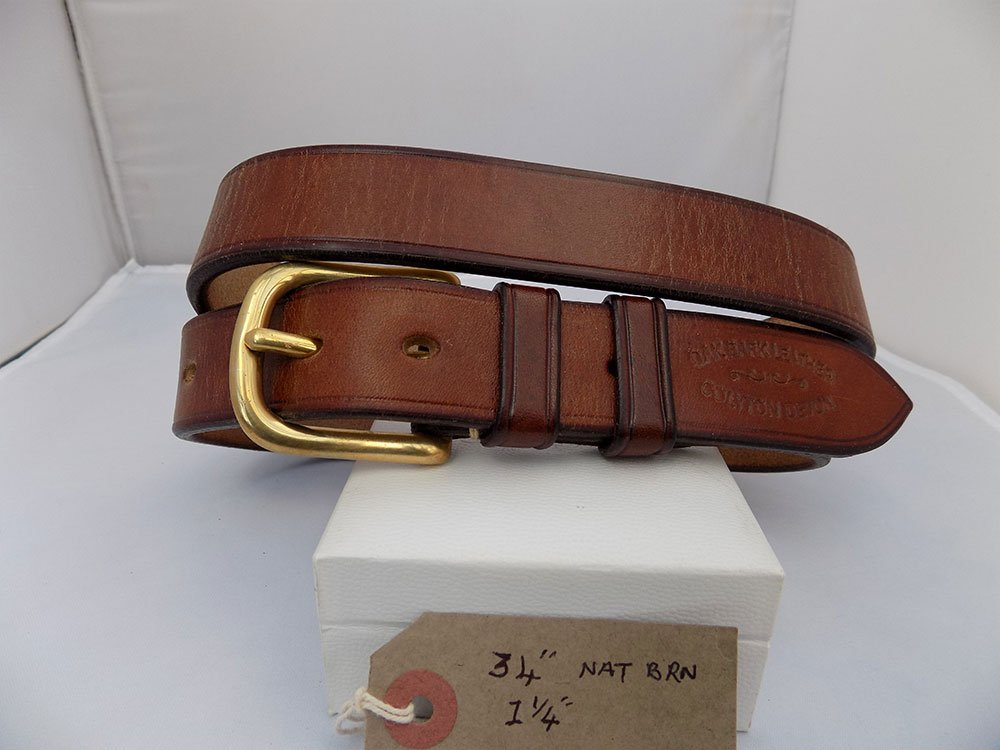 """34"""" Bridle, Natural Brown, 1 ¼"""" wide, Brass West End buckle"""
