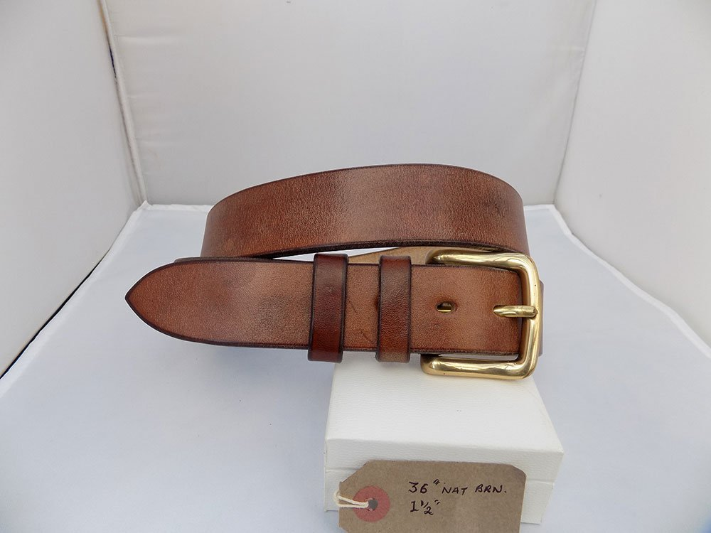 """36"""" Classic, Natural Brown, 1 ½"""" wide, Brass West End buckle."""