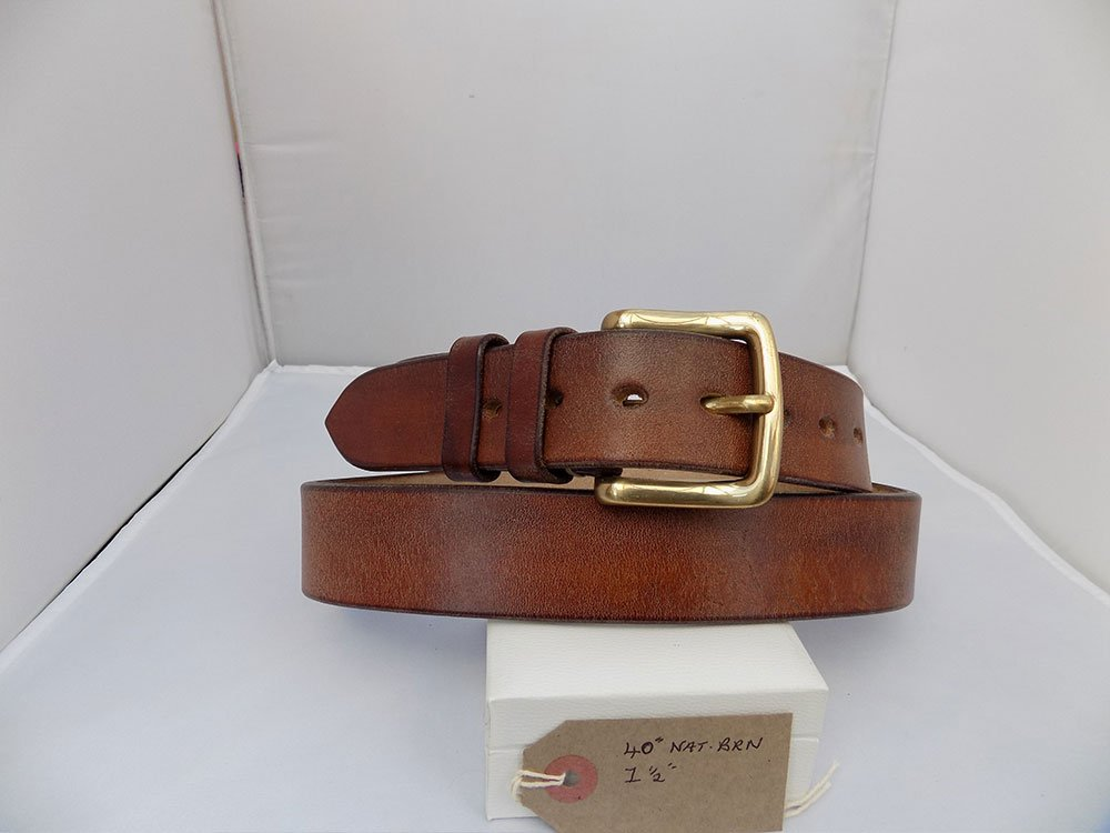 "40"" Classic, Natural Brown, 1 ½"" wide, Brass West End buckle"