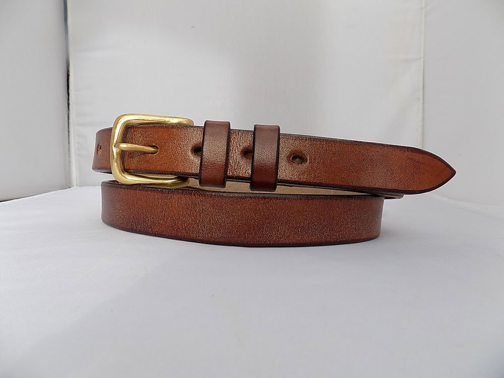 """35"""" Classic, Natural Brown, 1"""" wide, Brass West End buckle."""